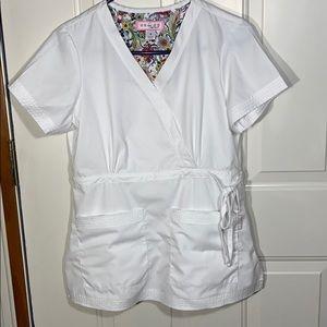 Koi Women's white scrub medical top Small